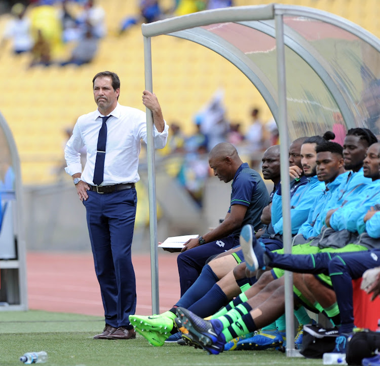 Platinum Stars' head coach Roger De Sa looking worried during the Absa Premiership match against Mamelodi Sundowns on the 01 October 2017 at Royal Bafokeng Stadium.