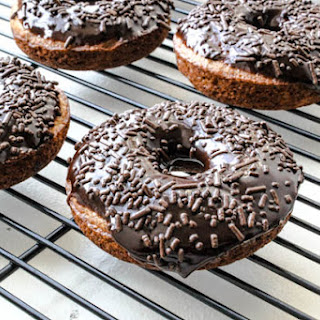 Baked Banana Bread Donuts with Dark Chocolate Glaze