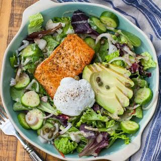 Keto Avocado, Egg and Salmon Salad.