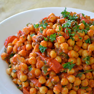 Moroccan Chickpeas with Roasted Peppers, Parsley & Mint.