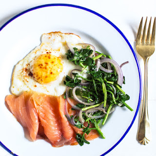 Truffled Egg with Smoked Salmon & Greens.