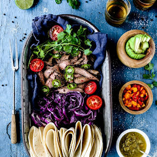 Grilled Pineapple & Black Bean Marinated Flank Soft Tacos.