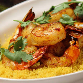 Spiced Couscous with Shrimp and Chermoula.
