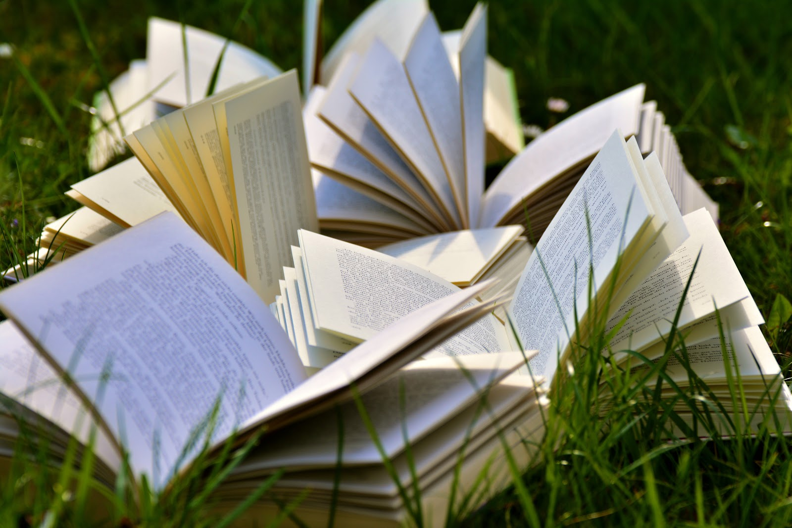 a pile of open books in the grass