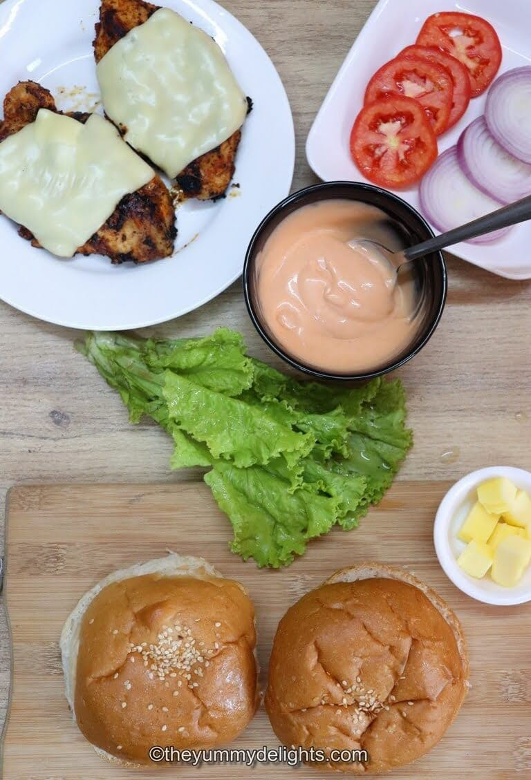 image of ingredients to make cajun sandwich