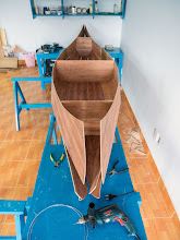 Photo: the hull takes initial shape, the 2 ends are left un-stitched for now