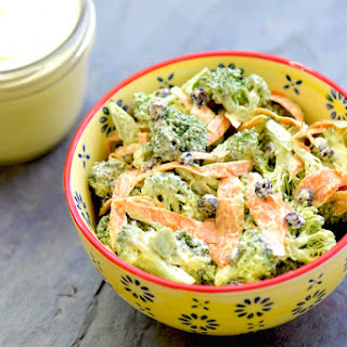 Vegan Broccoli Salad with Cashew Curry Dressing.