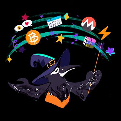 Ilustração com emojis e pássaro vestido de bruxo