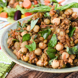 Sun-Dried Tomato Lentils With Fresh Basil & Greens