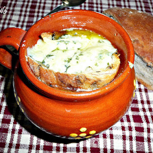 Onion Soup with Olive Bread and Blue Cheese