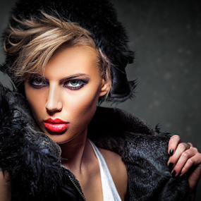 Girl with coat by Miroslav Potic - People Portraits of Women ( blonde, fashion, girl, coat )
