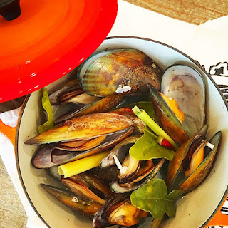 Steamed Mussels in Lemongrass Broth.