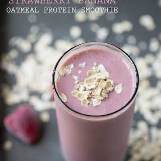 Strawberry Banana Oatmeal Protein Smoothie.