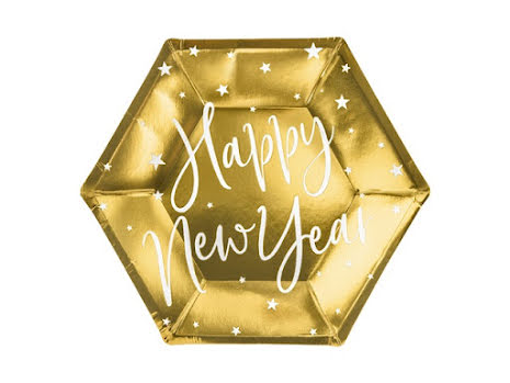 Assietter Happy new year, guld