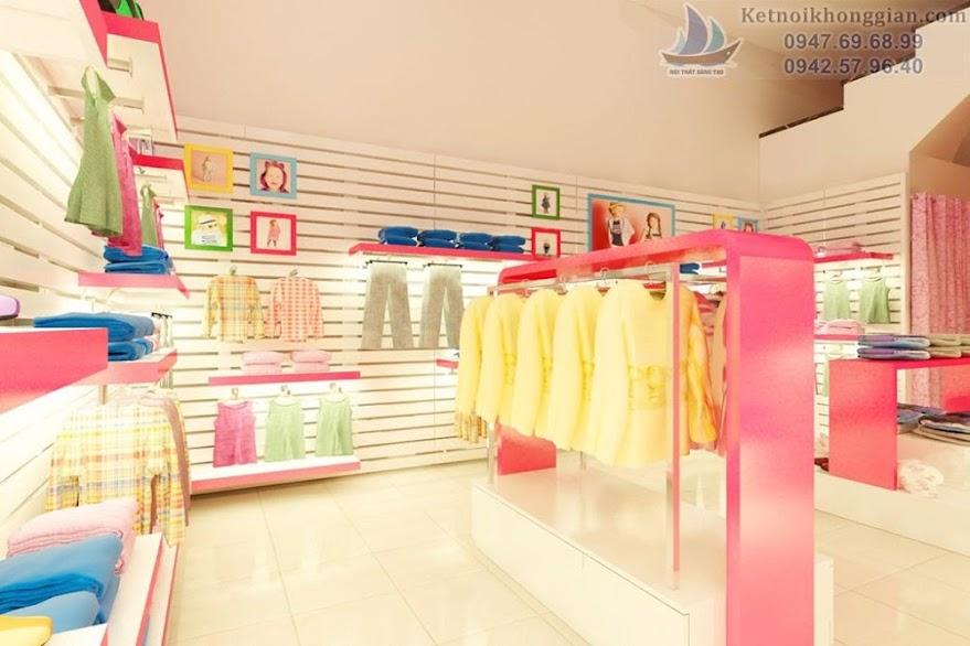 thiết kế shop thời trang trẻ em với tông màu trắng - hồng