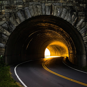 Buck Spring Tunnel by Tom Moors - Transportation Roads ( curve, buck spring tunnel, mountain, stone, blue ridge parkway, road, sunrise, light, tunnel )
