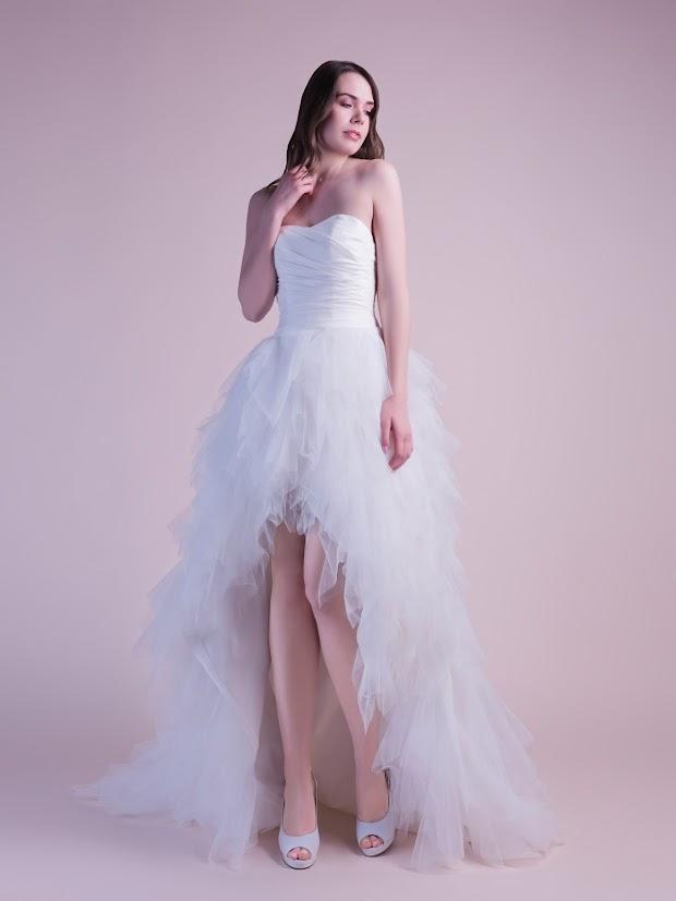 Robe de mariée Douceur, robe de mariée courte devant, longue derrière, robe de mariée satin et tulle