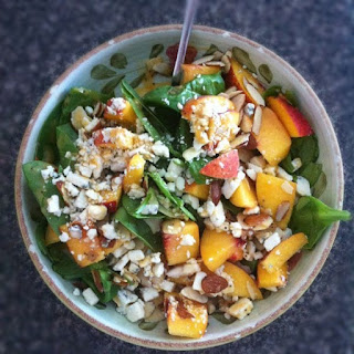 Spinach Salad with Fresh Late Summer Peaches, Gorgonzola and Almonds.