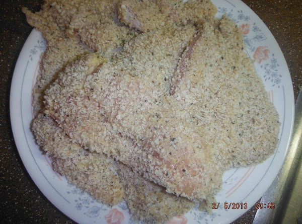 Dip chicken in flour, egg mixture and panko in that order set on a...