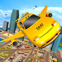 Flying Transforming Car Driving Sky City Taxi Game icon