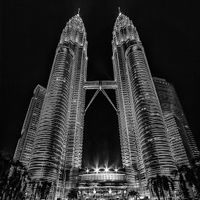 PETRONAS Twin Towers Kuala Lumpur. by Rose Roses - Buildings & Architecture Office Buildings & Hotels ( mono-tone, b&w, black and white, black and white collection, b and w, monotone, landscape )