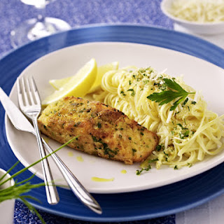 Herb Crusted Salmon with Linguine.