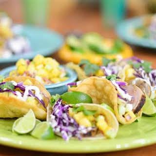 Grilled Pork Tenderloin Tacos with Pineapple Cucumber Salsa.