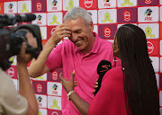 Kaizer Chiefs coach Ernst Middendorp all smiles after their match against Mamelodi Sundowns.