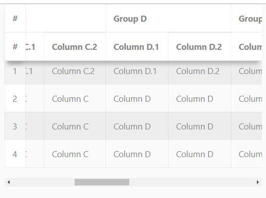 fixed column table