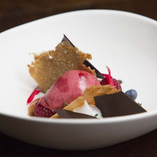 Blackberry Sorbet with Salted Almond Tuile and Nougat.