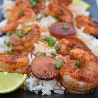 One Pot Cajun Shrimp & Sausage Over Rice.
