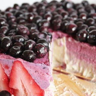 Blueberry Strawberry Banana Ice Cream Cake.