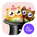Cute cats stickers theme icon