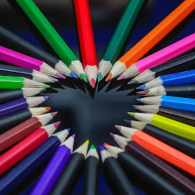 Heart by Nizam Akanjee - Products & Objects Education Objects ( heart, colour pencils, shape,  )