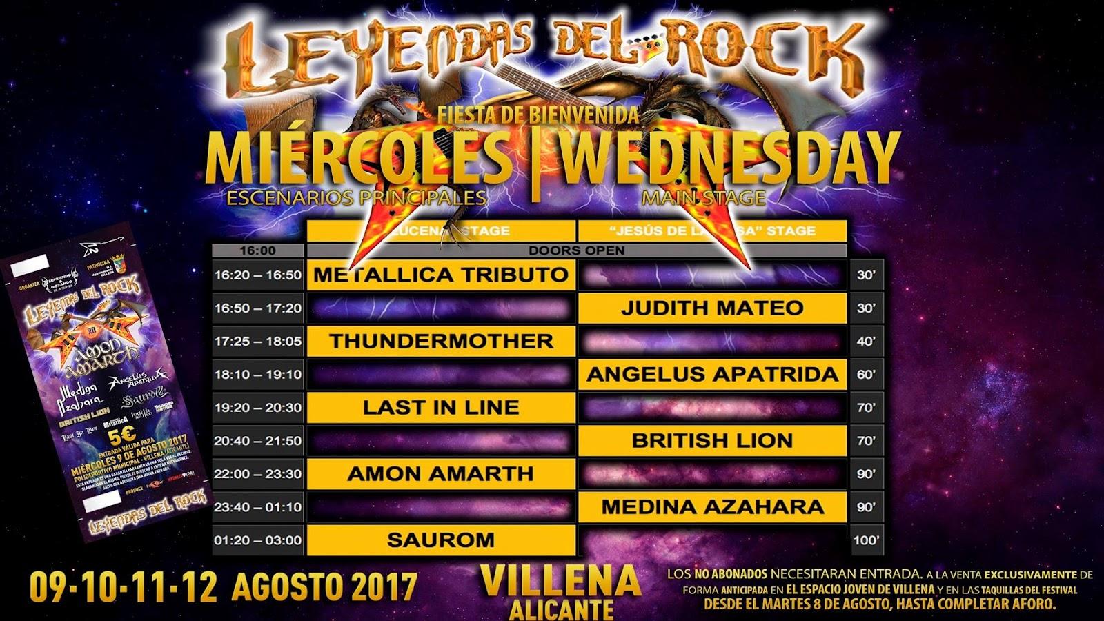 leyendas del rock horarios miercoles