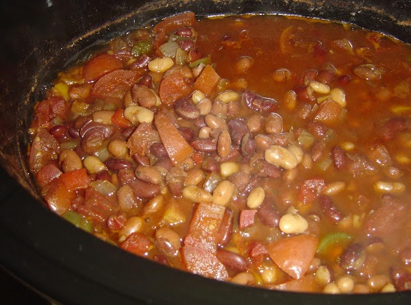 Place beans and all remaining ingredients in crockpot. Stir well. Cover and cook on...