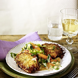 Potato-Crusted Pork Steaks with Apples and Leeks.