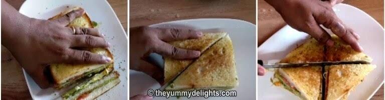 Cut veg club sandwich in quarters and insert a toothpick to hold veg club sandwich.