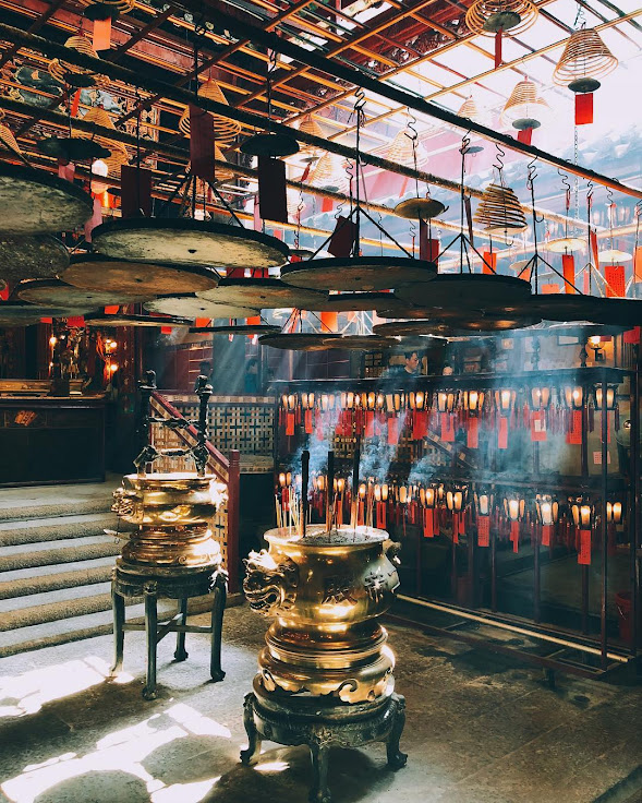 The incense smoke inside the Man Mo Temple.