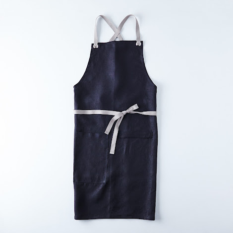 Black Cross-Back Kitchen Apron with Graphite Gray Ties