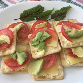Snack time by Dawn Simpson - Food & Drink Plated Food ( acocado, afternoon tea, morning tea, tomato, snacks, chees, supper, sao's )