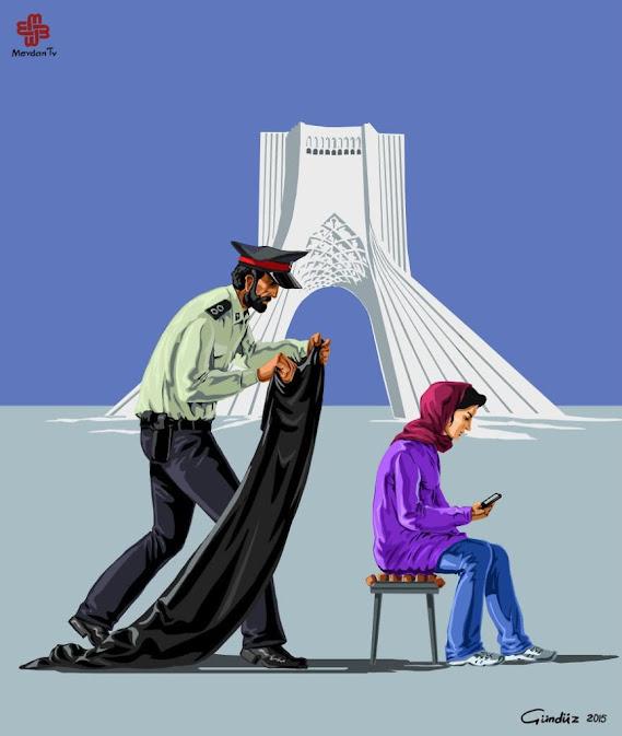 Noticias criminología. Ilustraciones que muestran la policía de diversos países. Iraán. Marisol Collazos Soto. Criminologia, ciencia, escepticismo