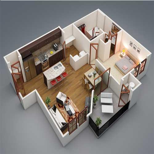 Mô hình mặt bằng và các nội thất bên trong căn nhà