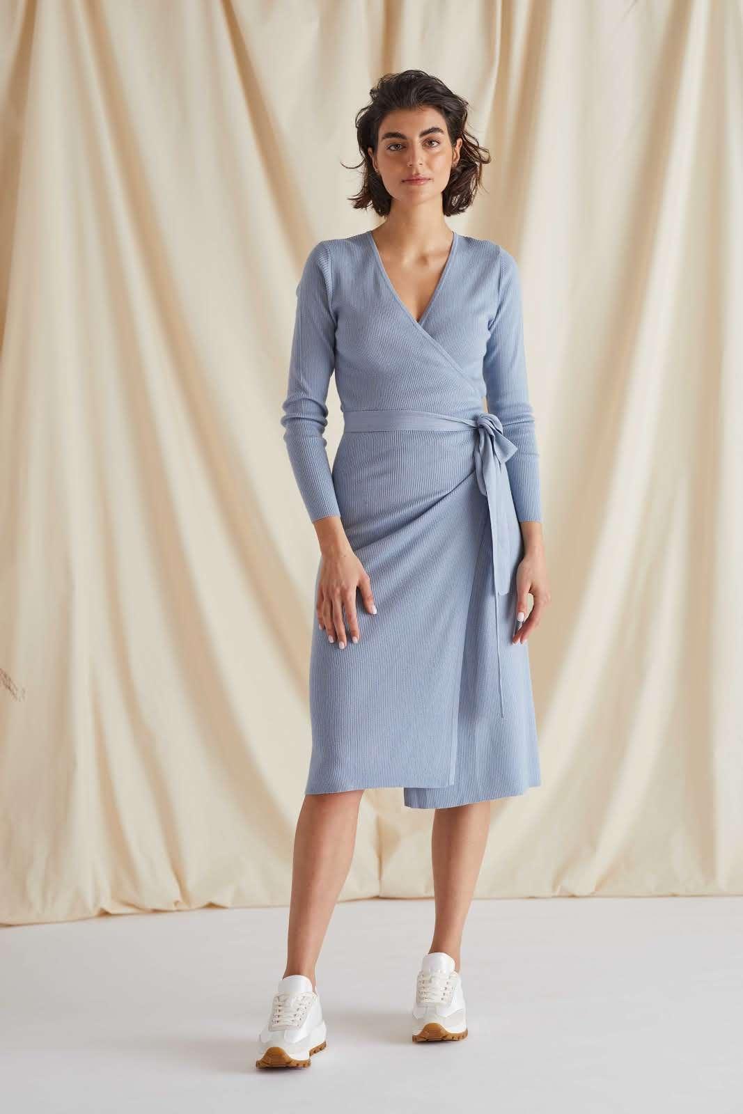 Fine Knit Rib Wrap Midi Dress