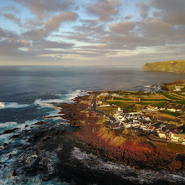 Azores Coast - Aerial by Jesse Steele - Landscapes Beaches ( cliffs, portugal, beach, clouds, aerial, landscape,  )