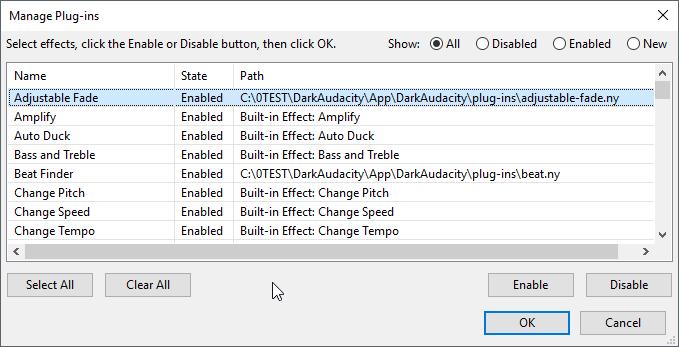 thumbapps.org Dark Audacity portable, Manage Plug-ins