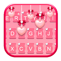 Pink Heart Pearls Keyboard Theme icon