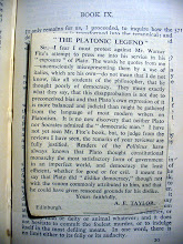 Photo: A 1930s newpaper clipping of a letter concerning Plato's political opinions, found in The Republic of Plato (printed 1890).