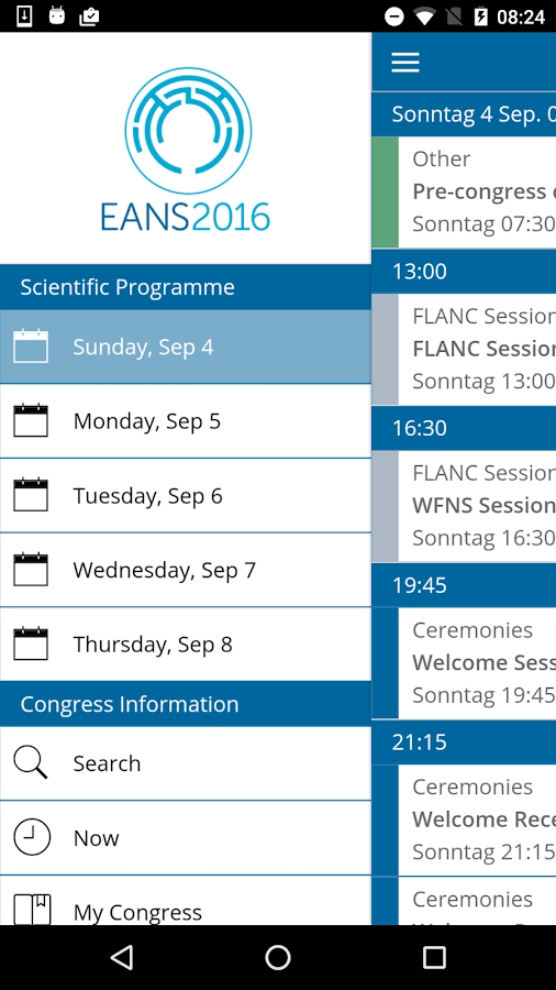 EANS2016 Congress- screenshot