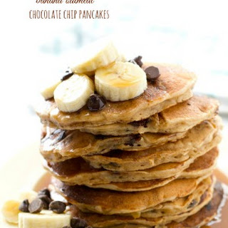 Banana Oatmeal Chocolate Chip Pancakes